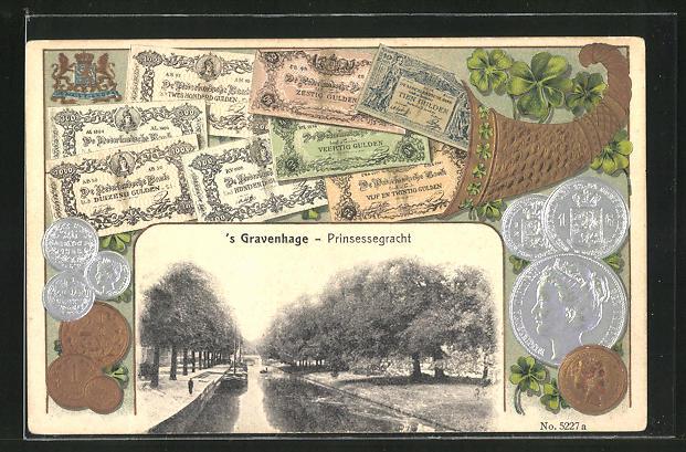 Präge-AK `s Gravenhage, Prinsessgracht, niederl. Banknoten und Münzen 0