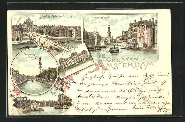 Lithographie Amsterdam, Prinsengracht, Amstel Hotel, Binnen-Amstel, Hohesluis en Paleis 0