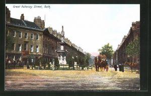 AK Bath, Great Pulteney Street mit Denkmal