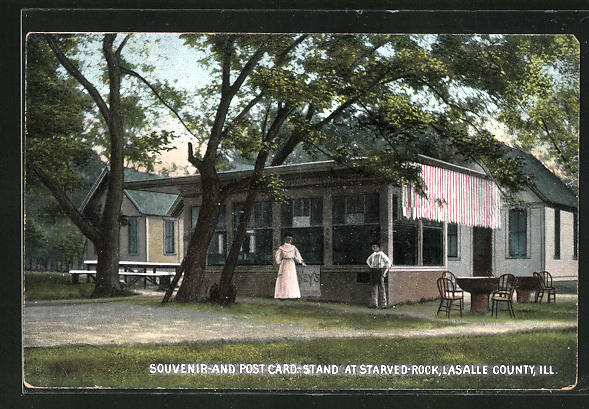 AK Lasalle County, IL, Souvenir and Post Card-Stand at Starved Rock