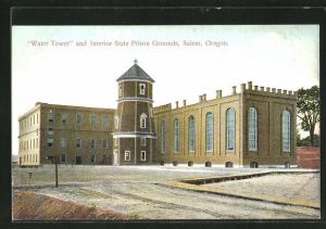 AK Salem, OR, Water Tower and Interior State Prison Grounds