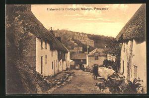 AK Newlyn, Fishermans Cottages, Strassenpartie