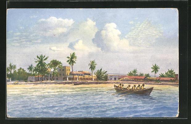 Künstler-AK Ostafrika, Kilwa Kiwindje, Strand und abfahrendes Boot