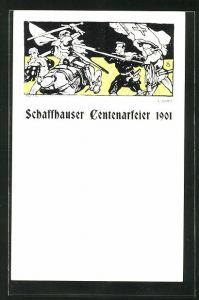 Künstler-AK Schaffhausen, Centenarfeier 1901, Ritter auf seinem Pferd in einer Schlacht