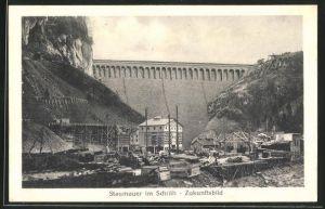 AK Wäggital, Kraftwerk Wäggital, Staumauer im Schräh, zukunftsbild