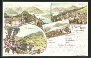 Lithographie Rigi, Rigi-Klösterli, Känzeli, Rigi-Kulm