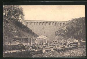 AK Wäggital, Kraftwerk Wäggital, Staumauer im Schräh, Zukunftsbild taleinwärts gesehen