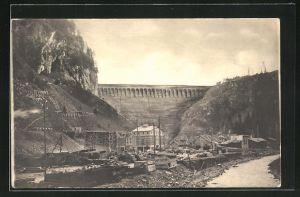 AK Wäggital, Kraftwerk Wäggital, Blick auf die Staumauer