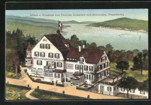 AK Feusisberg, Hotel und Pension zur Frohen Aussicht mit Zürichsee