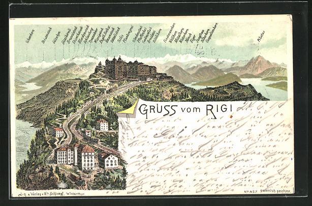 Lithographie Rigi, Hotels gegen Alpenpanorama 0