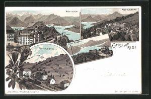 Lithographie Rigi, Rigi-Kulm, Rigi-Kaltbad, Rigi-Klösterli