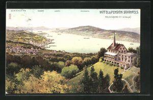 AK Feusisberg, Hotel & Pension Schönfels, mit Albiskette Utliberg, Lägern