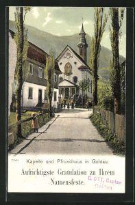 AK Goldau, Weg zu Kapelle und Pfrundhaus