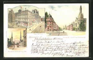 Lithographie Philadelphia, PA, Post Office, Broad St. north from Oxford St., Broad St. north of City Hall