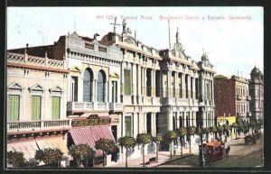AK Buenos Aires, Boulevard Callao y Escuela Sarmiento