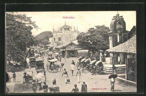 AK Colombo, Ortsansicht mit Rikschas