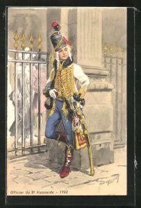 Künstler-AK M. Toussaint: Officier de 5e Hussards - 1792, histor. Husarenuniform