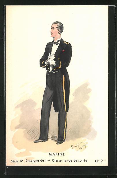Künstler-AK Maurice Toussaint: Marine, Enseigne de 1ere Classe, tenue de soirée, Uniform