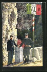 AK Menton, Douaniers Francais et Italiens à la Frontiere, Grenzer in Uniform