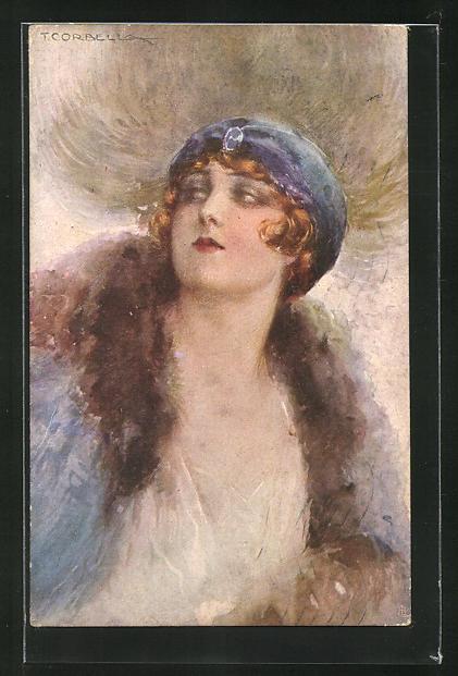 Künstler-AK Tito Corbella: Elegante Dame mit blauem Hut