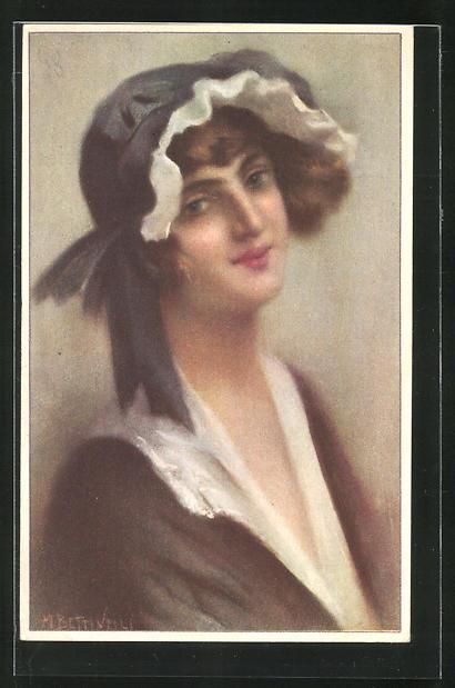 Künstler-AK sign. M. Bertinelli: Portrait einer jungen Frau mit schwarz-weisser Haube