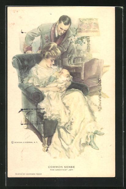 Künstler-AK Harrison Fisher: Stolzer Vater betrachtet Frau und Kind im Sessel