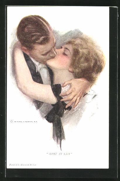Künstler-AK Harrison Fisher: Verliebtes Paar küsst sich leidenschaftlich