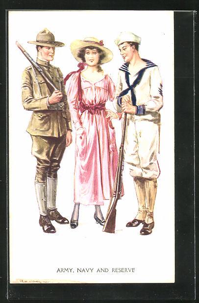 Künstler-AK sign. Archie Gunn: Junge Frau steht zwischen Soldat und Matrose, Army, Navy and Reserve