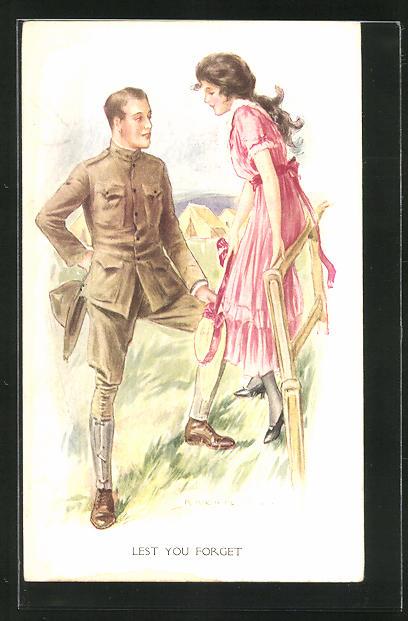 Künstler-AK sign. Archie Gunn: Amerikanischer Soldat spricht mit einem Mädchen am Zaun