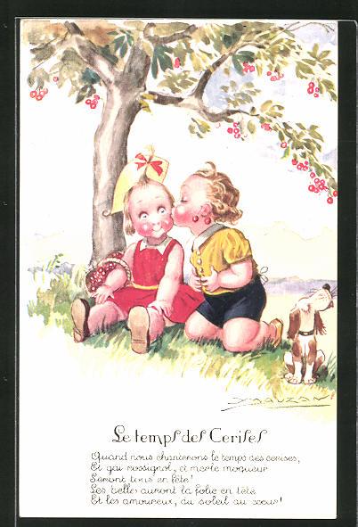 Künstler-AK Mauzan: Junge küsst sein Mädchen unter dem Kirschbaum