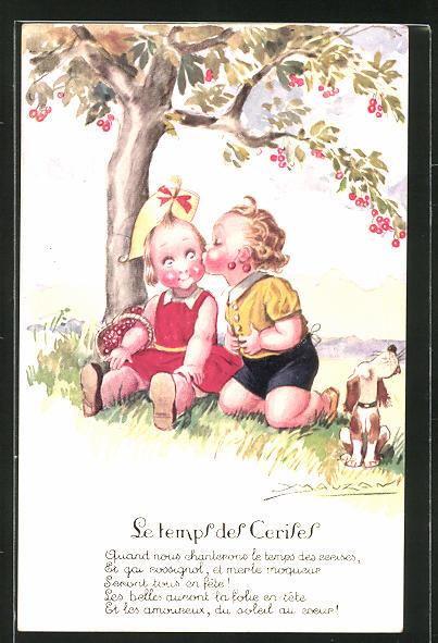 Künstler-AK Mauzan: Junge küsst seine Freundin unter dem Kirschbaum