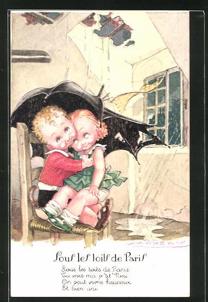 Künstler-AK Mauzan: Junge und Mädchen schützen sich mit einem Schirm vor dem Regen, der in die Stube tropft