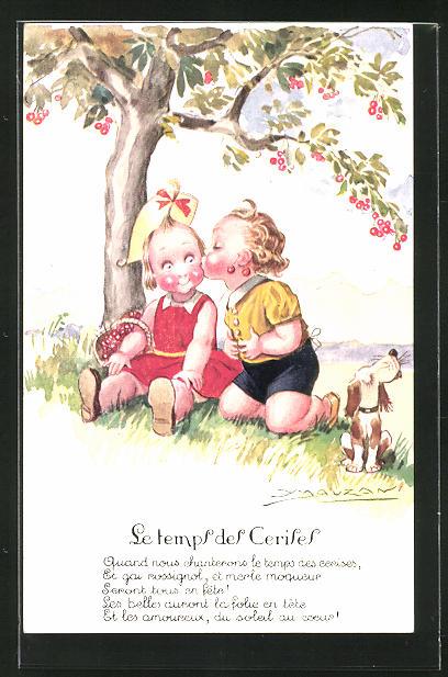Künstler-AK Mauzan: Junge küsst ein Mädchen unter dem Kirschbaum