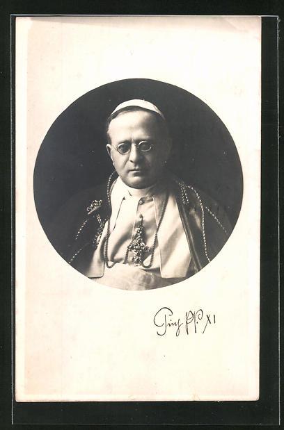 AK Papst Pius XI. mit Brille im Passepartout-Rahmen