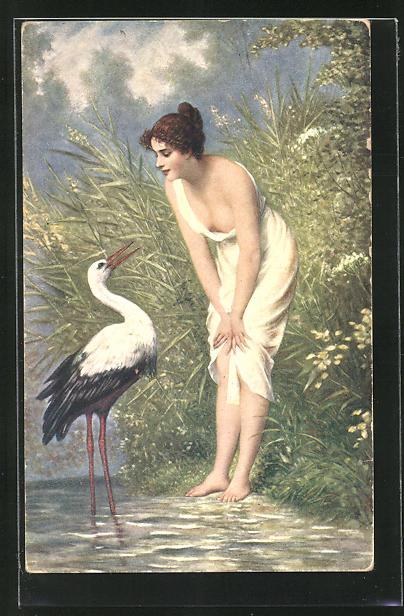 AK Junge Frau spricht am Ufersaum mit einem Storch