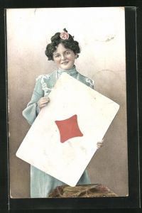 AK Junge Dame hält die Spielkarte Karo Ass in den Händen, Kartenspiel