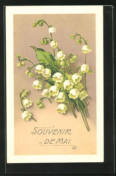 Präge-AK Maiglöckchen in voller Pracht, Souvenir de Mai
