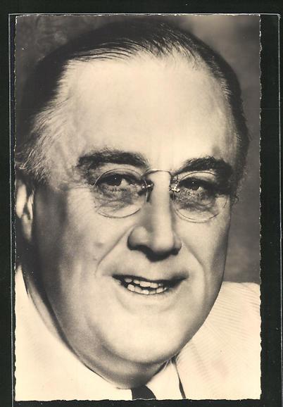 AK Franklin D. Roosevelt, Portrait mit Brille