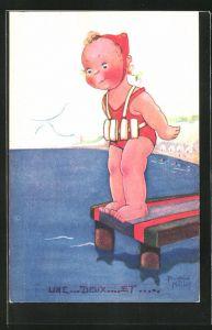 Künstler-AK Beatrice Mallet: Un... deux... et..., kleine Schwimmerin