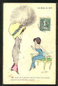 Künstler-AK Xavier Sager: Le Mode en 1910, Moi, depuis que je porte des robes à la mode..., Hutmode