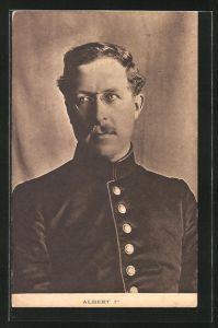 AK Albert Ier, König von Belgien, Portrait in Uniform mit Zwicker