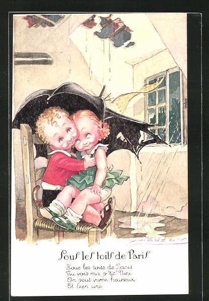Künstler-AK Mauzan: Sous les toits de Paris, kleines Paar unter Regenschirm