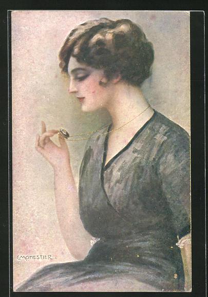 Künstler-AK C. Monestier: Dame mit Medaillon mit Portrait