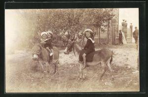 Foto-AK Kinder reiten auf Eseln