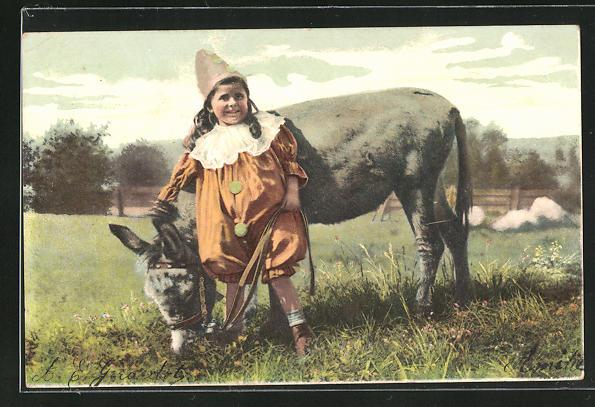 AK Mädchen als Harlekin verkleidet mit Esel