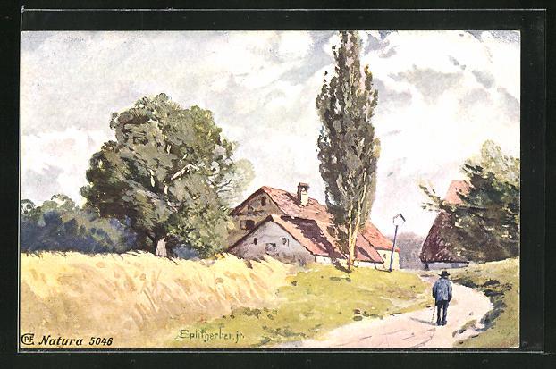 Künstler-AK August Splitgerber: Wanderer am Rand eines Dorfes