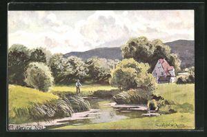 Künstler-AK August Splitgerber: Angler an einem Fluss