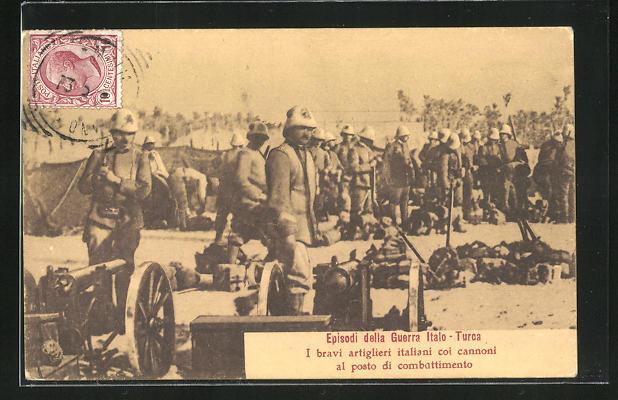 AK Italienische Artilleriesoldaten in Uniform mit Kanonen, Episodi delle Guerra Italo-Turca
