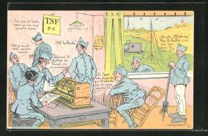 Künstler-AK sign. A. Gailleres: Soldaten in Uniformen am Fernsprechgerät