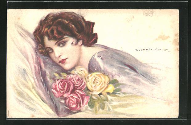Künstler-AK Tito Corbella: Schöne Frau mit einem Strauss Rosen